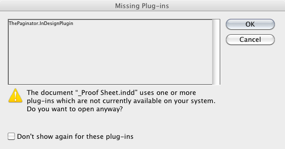 Missing Indesign Plugins