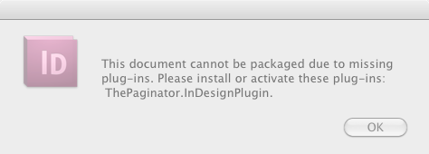 Cannot Package Indesign file